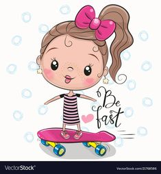 Cute Girl with a pink bow vector illustration Cute Cartoon Girl, Baby Cartoon, Cute Animal Drawings Kawaii, Cute Drawings, Bow Vector, Disney Cartoon Characters, Girl With Sunglasses, Christmas Drawing, Animation