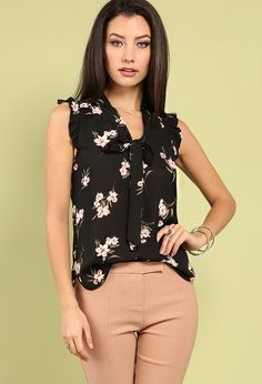 Ruffled Floral Self-Tie Popover Top