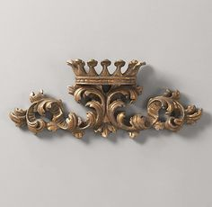 RH Baby & Child's Small Gilt Wall Crown:Topped with a tiara and exhibiting a palace-worthy glow, our regal replica of an original find makes for a perfect adornment to a princess& room. Princess Nursery, Princess Room, Girl Nursery, Crown Wall Decor, Luxury Nursery, Restoration Hardware Baby, Gold Walls, Gold Crown, Home Decor Furniture