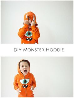 DIY Monster Hoodie. Make a cute and easy monster hoodie in minutes with free printable decals included. Easy Halloween costume for kids they can wear long past the day!