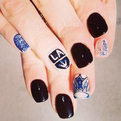 LA, Kings, Sports, Los Angeles, Nail Art, Hockey, Crown, Nails, Gel Mani, Mani Hockey Nails, Mani Pedi, Manicure, Girly Things, Girly Stuff, Tough As Nails, 3d Nails, Some Ideas, Nail Arts
