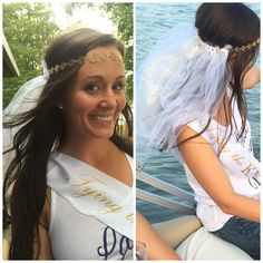 This adorable veil is perfect for bachelorette parties or bridal showers! Can be made with white tulle or white/gold shimmery tulle. Let me know at