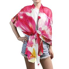 Lightweight Shawl Wrap Sheer Scarves,Art Flower,Oblong Chiffon Scarf -- Learn more @ http://www.amazon.com/gp/product/B01M0V670J/?tag=christmas3638-20&pkl=290916085008