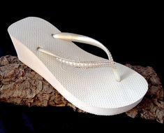Custom White Havaianas High Wedge Heel Flip Flops 2 5 W Heeled Wedding