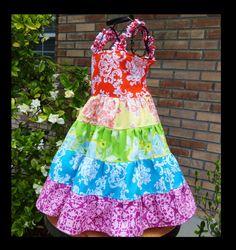 Rainbow dress twirl for Girls birthday party ROYGBIV on Etsy, $30.00