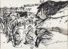 Elizabeth Blackadder - The Scottish Gallery, Edinburgh - Contemporary Art Since 1842 Landscape Sketch, Landscape Drawings, Abstract Landscape, Landscape Paintings, Illustrations, Illustration Art, Art Postal, Blackadder, Artist Sketchbook