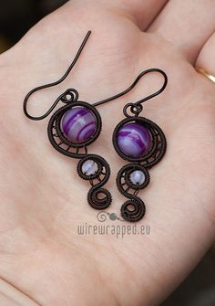 Purple agate wire wrapped earrings by ukapala on Etsy