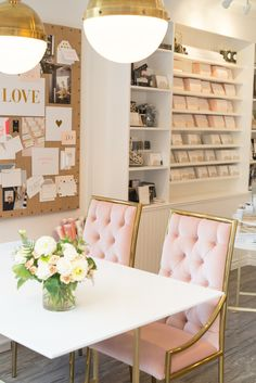 feminine office, gold and pink, tufted chairs, pretty workspace