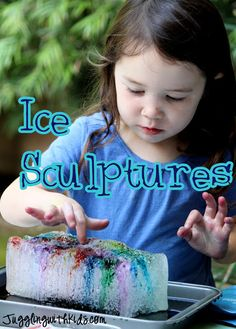 Ice Sculptures -- This is a great activity to show kids how salt melts ice. It's really beautiful too as you watch the colors sink into the crevasses of the ice. #experiment #science #salt