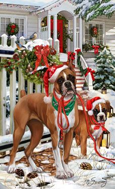 """New for 2011! Boxer Christmas Holiday cards are 8 1/2"""" x 5 1/2"""" and come in packages of 12 cards. One design per package. All designs include envelopes, your personal message, and choice of greeting. Select the inside greeting of your choice from the menu below.Add your personal message to the Comments box during checkout."""