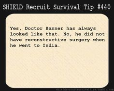 S.H.I.E.L.D. Recruit Survival Tip #440:Yes, Doctor Banner has always looked like that. No, he did not have reconstructive surgery when he went to India.  [Submitted by wannabeeagamer]