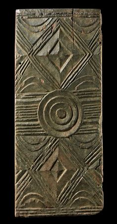 Africa | Door panel from the Igbo people of Nigeria | Wood, with matt brown patina
