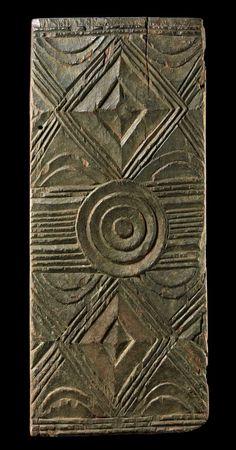 Africa | Door panel from the Igbo people of Nigeria | Wood, with matt brown patina