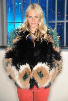multi colored fur coat