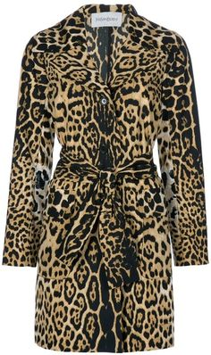 YVES SAINT LAURENT  Animal Leopard Print Coat  Beige coat from Yves Saint Laurent featuring a leopard print, notched lapels, a front button fastening, a tie-belt at the waist and patch pockets to the front.  $1529.00