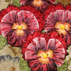 Steam Embossed Velvet and Silk Ribbon Pansies - very nice by jiYah! Ribbon Art, Fabric Ribbon, Ribbon Crafts, Flower Crafts, Flower Art, Diy Crafts, Handmade Flowers, Diy Flowers, Vintage Flowers