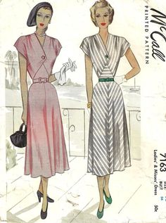 McCall 7163 Vintage 40s Sewing Pattern Dress by studioGpatterns