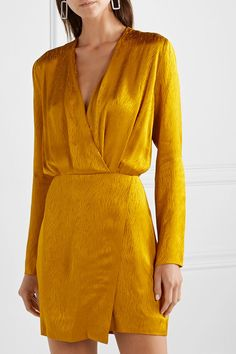 Cushnie - Wrap-effect Satin-jacquard Mini Dress - Gold Elegant Dresses, Sexy Dresses, Casual Dresses, Short Dresses, Dresses For Work, Summer Dresses, Ladies Short Dress, Formal Dresses, Wedding Dresses