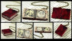 """Beloved Book Locket Necklace © Amanda (Artist. Colorado Springs, Colorado, USA) via her Etsy shop, Neverland Jewelry. Handmade Jewelry. 32.00 USD. Beautiful work. (Please keep this lady & her family in your prayers as she lost her beloved husband in 2012 after a long struggle to brain cancer). Real people are behind these pin images. Give credit where due.  """"Treat others the way you want to be treated."""" : http://pinterest.com/pin/86975836525355452/ Yes, even online."""