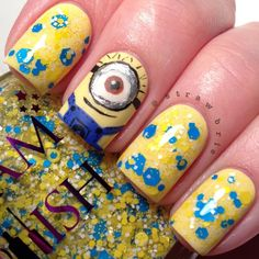 Minion nails gru despicable me 2 Funky Nail Art, Crazy Nail Art, Crazy Nails, Minions, Minion Nails, Cute Nails, Pretty Nails, Hair And Nails, My Nails