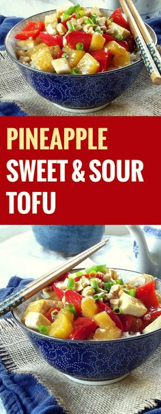 """Pineapple Sweet and Sour Tofu~ This is smart! I don't normally pin recipes starting with a capital """"p"""", but this deserved the exception!"""