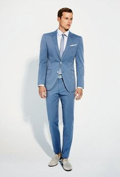 White  Blue -- perfect suit color combos for the summer. Menswear suit style.