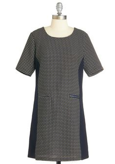 Eclectic Consciousness Dress - Blue, White, Casual, Shift, Fall, Winter, Woven, Mid-length, Print, Exposed zipper, Pockets, Short Sleeves, Work