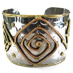 Mixed Metal Spiral Squares Cuff #jewelry [ http://www.thegoodlifestore.com/store/index.php?main_page=product_info&cPath=532_533&products_id=5130#.U-QAafldVbU ]