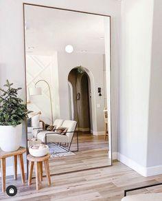 Big Mirror In Bedroom, Living Room Mirrors, Home Living Room, Living Room Designs, Living Room Decor, Bedroom Decor, Big Mirrors, Giant Mirror, Full Mirror