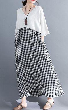 Women loose fit pocket dress checkered tunic short sleeve large size pregnant – Linen Dresses For Women Cheap Summer Dresses, Cheap Maxi Dresses, Linen Dresses, Casual Dresses, Short Dresses, Loose Dresses, Mode Abaya, Mode Hijab, Boho Fashion