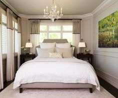Bedroom:Small Master Bedroom Design With Perfect Ideas! Small Master Bedroom Design Ideas With Nice Wall Paint And Chandelier Warm Bedroom, Small Master Bedroom, Master Bedroom Design, Dream Bedroom, Home Bedroom, Bedroom Pics, Master Bedrooms, Bedroom Furniture, King Size Bed In Small Room