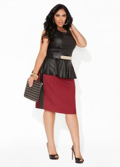 Curvy Woman Red Skirt Black Top and Black High Heels