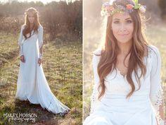 bohemian bride - flower crown - simple head piece - boho chic!! LOVE her dress!