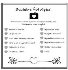 Svatba objektivem svatebčanů aneb svatební fotošpion - Svatební šílenství Wedding Activities, Wedding Games, Wedding Shoot, Wedding Tips, Wedding Details, Diy Wedding, Wedding Planning, Dream Wedding, Wedding Day