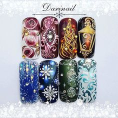 Christmas Nail Art Designs, Winter Nail Designs, Winter Nail Art, Winter Nails, Xmas Nails, New Year's Nails, Holiday Nails, Christmas Nails, Gel Nail Art
