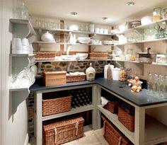 kitchen idea - baskets on lower pantry shelves