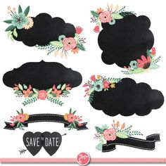 "Chalkboard Wedding Clipart""CHALKBOARD WEDDING"" Digital Frames ,Laurels Clip Art,Floral Frames,Wedding invitaion Instant Download Wd018."