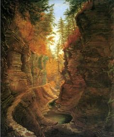 Watkins Glen.  James Hope.  Hudson River School