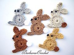 5 pcs crochet bunnys appliques by Barbarascrochet on Etsy, $9.00