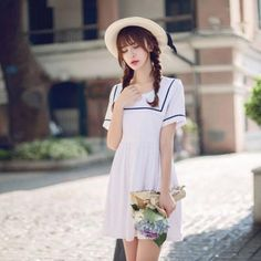 Japan Fashion Institute round neck A-line dress - AddOneClothing - 1