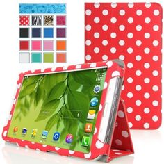 MoKo Samsung Galaxy Tab 3 8.0 Case - Slim Folding Cover Case for Samsung Galaxy Tab 3 8.0 Inch SM-T3100 / SM-T3110 Android Tablet, RED & DOT