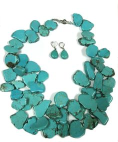 Chunky Howlite Necklace and Earrings by ClassicIndulgence on Etsy
