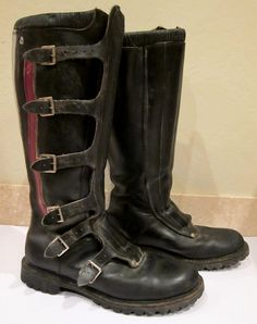 vintage hondaline motocross motorcycle boots with buckles  These boots are shown as a tribute to all Motocross Riders of Past, Present and Future.  A Tribute to their Spirit, their Endurance, Their Stamina, Their Courage, and Their Love for Sport. (Mackie Paw)