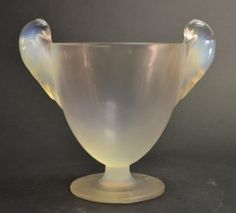 "Early R. Lalique France Opaline Glass Woodpecker Urn Shaped Vase. Size : 7.5"" x 8.5"""
