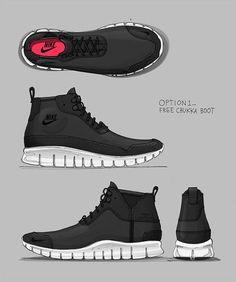 Nike Sportswear Free Chukka Boot Concept on Behance Kicks Shoes, Kobe Shoes, Sneakers Sketch, Nike Design, Sneaker Art, Shoe Sketches, Industrial Design Sketch, Nike Trainers, Sneakers Nike
