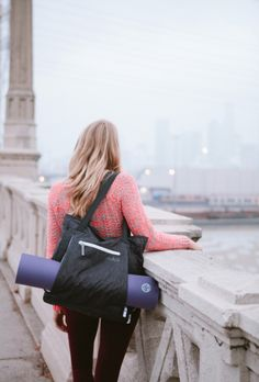 GO Ready- Black Yoga tote bag – fits any size yoga mat ($90)