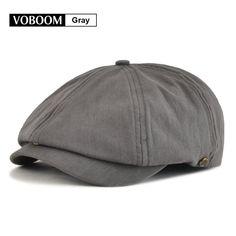 7e4232ef1c7 9.99AUD - Solid Cotton Men s 8 Panel Gatsbysboy Cap Breathable Summer Sun  Grey L