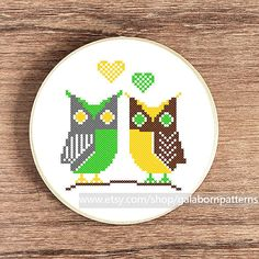Owls in love  Counted cross stitch pattern PDF by galabornpatterns