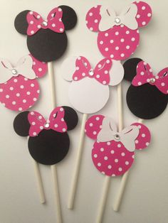 Minnie Mouse cake toppers 12 count by DivineGlitters on Etsy