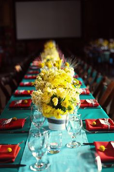 This is stunning. Yellow, turquoise & red wedding table setting.